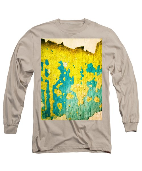 Long Sleeve T-Shirt featuring the photograph Yellow And Green Abstract Wall by Silvia Ganora