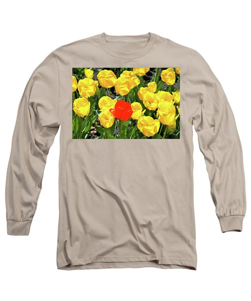 Yellow And One Red Tulip Long Sleeve T-Shirt