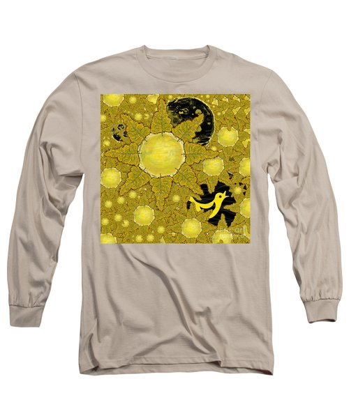 Yellow Bird Sings In The Sunflowers Long Sleeve T-Shirt by Carol Jacobs