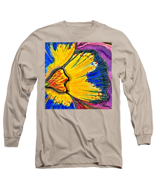 Long Sleeve T-Shirt featuring the painting Yellow Blue Flower by Joan Reese