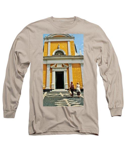 Long Sleeve T-Shirt featuring the photograph Yellow Church by Allen Beatty
