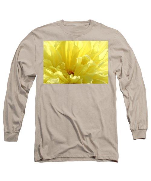 Yellow Dahlia Burst Long Sleeve T-Shirt by Ben and Raisa Gertsberg