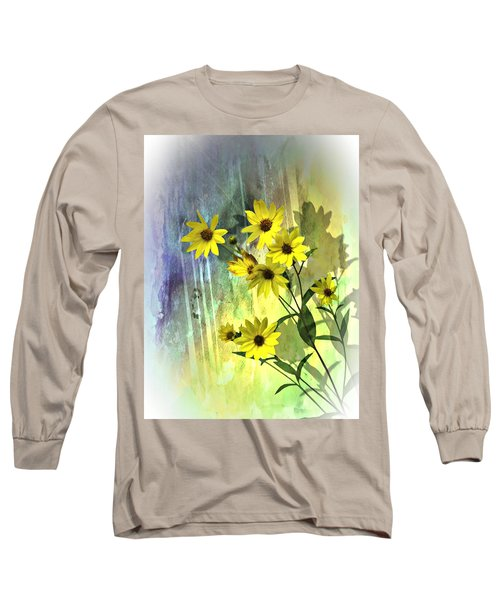 Yellow Daisies Long Sleeve T-Shirt by Judy  Johnson