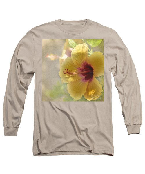 Yellow Hibiscus Long Sleeve T-Shirt by Peggy Hughes