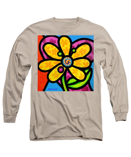 Yellow Pinwheel Daisy Long Sleeve T-Shirt