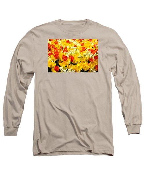 Yellow Red And White Tulips Long Sleeve T-Shirt by Menachem Ganon