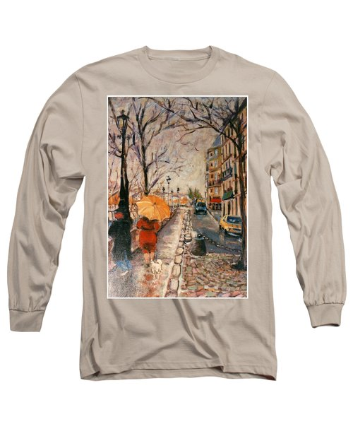 Yellow Umbrella Long Sleeve T-Shirt by Walter Casaravilla