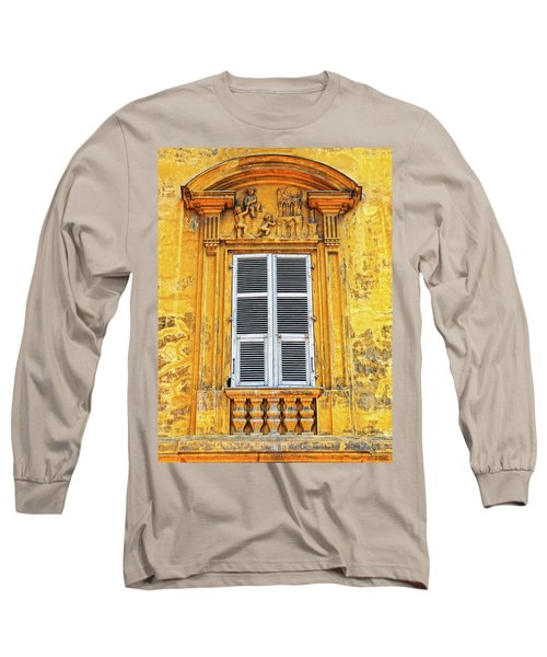 Long Sleeve T-Shirt featuring the photograph Yellow Window Nice France by Dave Mills