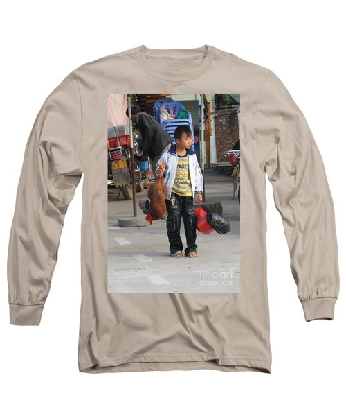 Young Boy Carrying A Dead Chicken To School Long Sleeve T-Shirt