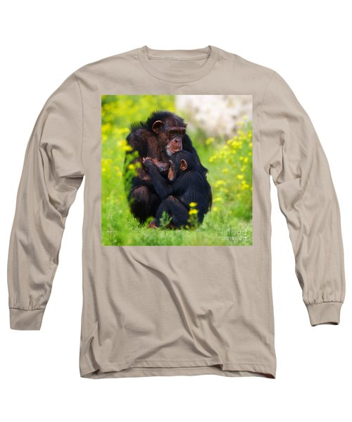 Young Chimpanzee With Adult - II Long Sleeve T-Shirt