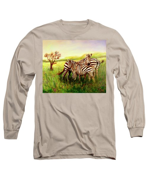 Zebras At Ngorongoro Crater Long Sleeve T-Shirt by Sher Nasser