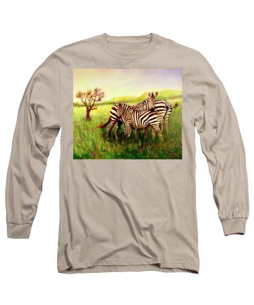 Zebras At Ngorongoro Crater Long Sleeve T-Shirt