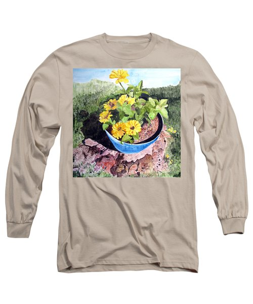 Zinnia On A Tree Stump Long Sleeve T-Shirt by Sandy McIntire
