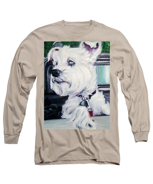 Zoey Waits For A Ride Long Sleeve T-Shirt by Martha Suhocke