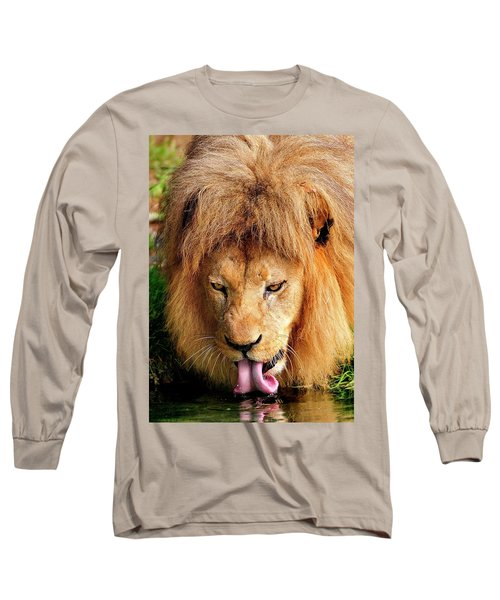 Lion Drinking Long Sleeve T-Shirt