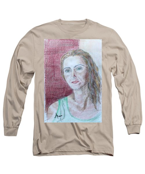 Long Sleeve T-Shirt featuring the drawing Self Portrait by Anna Ruzsan