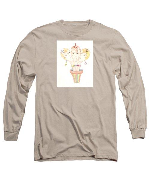 Flower Pot Ladies Long Sleeve T-Shirt by Nareeta Martin