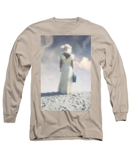 Woman With Suitcase Long Sleeve T-Shirt