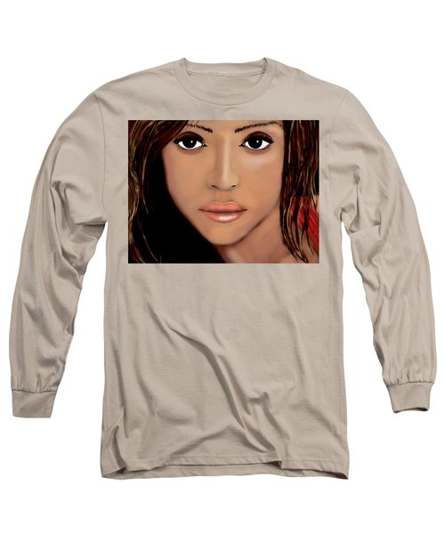 Jessica Alba Long Sleeve T-Shirt by Mathieu Lalonde