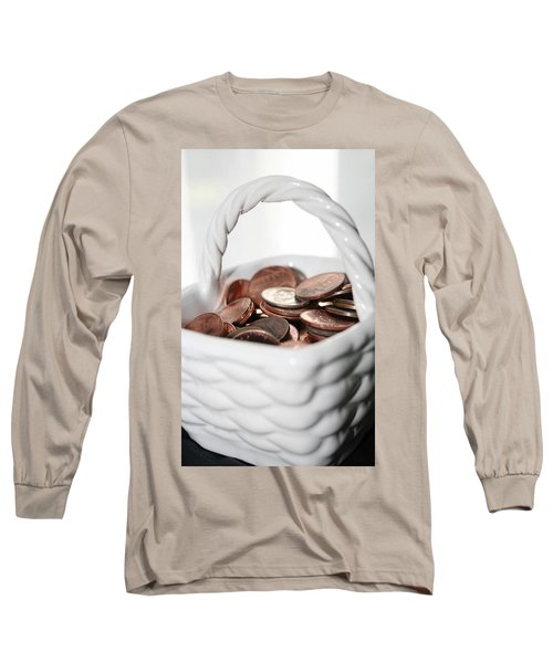 Long Sleeve T-Shirt featuring the photograph A Basket Of Pennies by Ester  Rogers