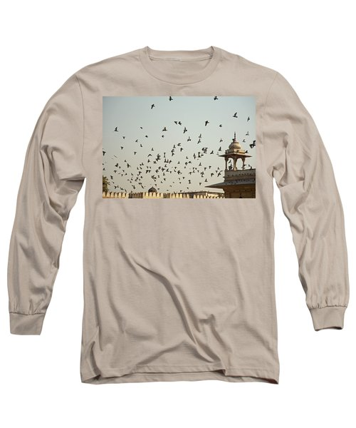 Long Sleeve T-Shirt featuring the photograph A Flock Of Pigeons Crowding One Of The Structures On Top Of The Red Fort by Ashish Agarwal