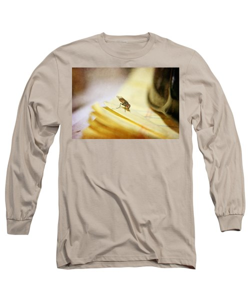 Long Sleeve T-Shirt featuring the photograph A Red Eyes Fly On The Yellow Paper by Ester  Rogers