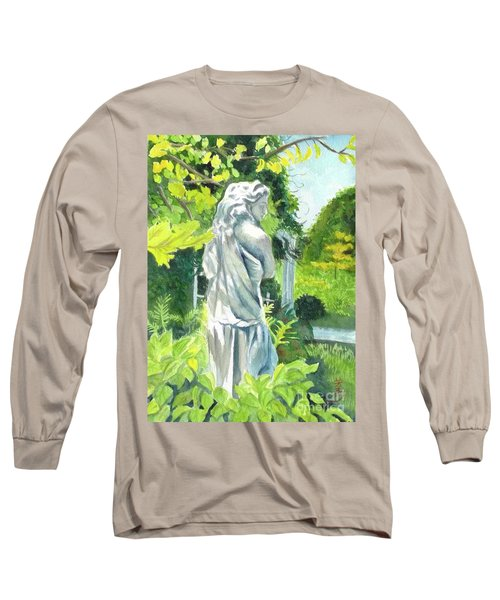 Long Sleeve T-Shirt featuring the painting A Statue At The Wellers Carriage House -3 by Yoshiko Mishina