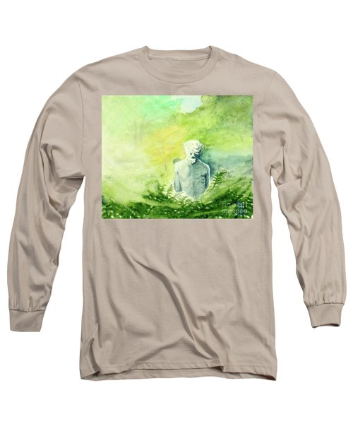 Long Sleeve T-Shirt featuring the painting A Statue At The Wellers Carriage House -5 by Yoshiko Mishina