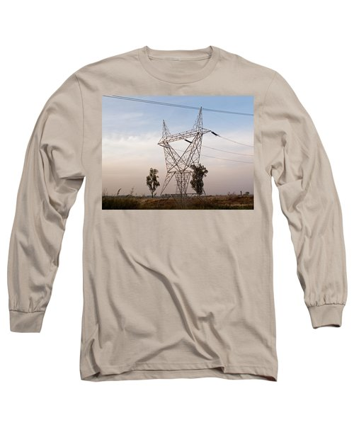Long Sleeve T-Shirt featuring the photograph A Transmission Tower Carrying Electric Lines In The Countryside by Ashish Agarwal