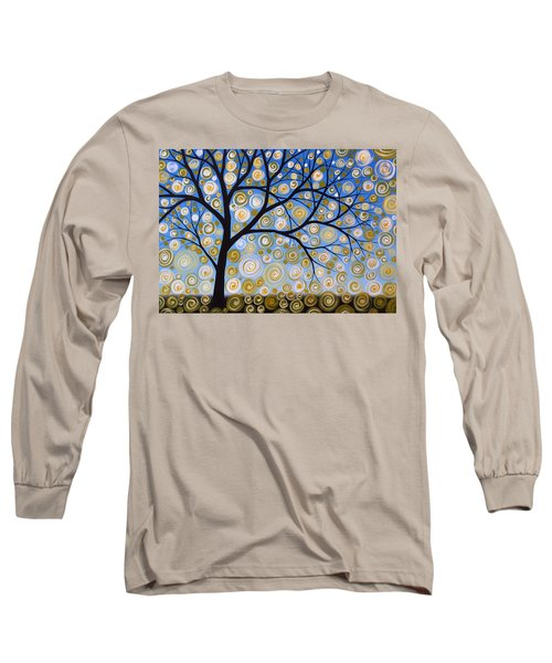 Long Sleeve T-Shirt featuring the painting Abstract Tree Nature Original Painting Starry Starry By Amy Giacomelli by Amy Giacomelli