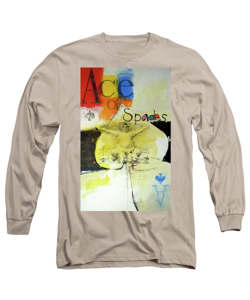 Long Sleeve T-Shirt featuring the mixed media Ace Of Spades 25-52 by Cliff Spohn
