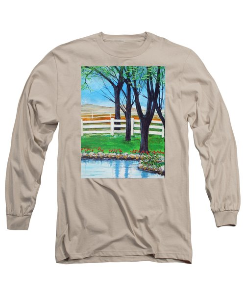 Long Sleeve T-Shirt featuring the painting Along The Lane by Dan Whittemore