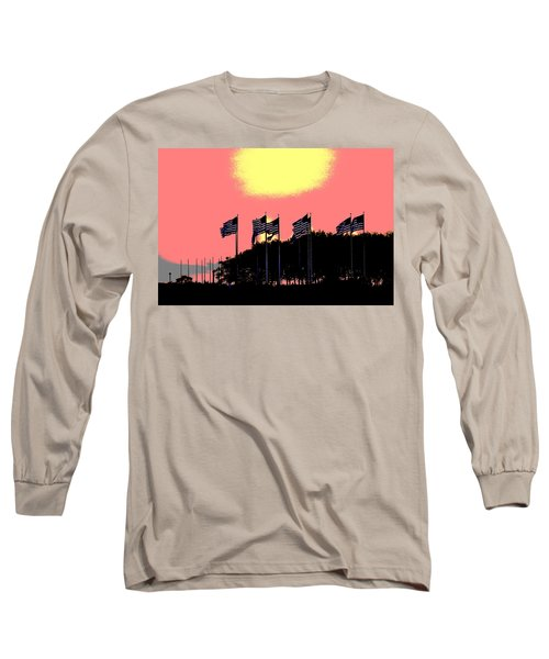 Long Sleeve T-Shirt featuring the photograph American Flags1 by Zawhaus Photography