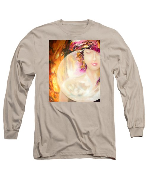 Long Sleeve T-Shirt featuring the painting Angel Luna by Michael Rock