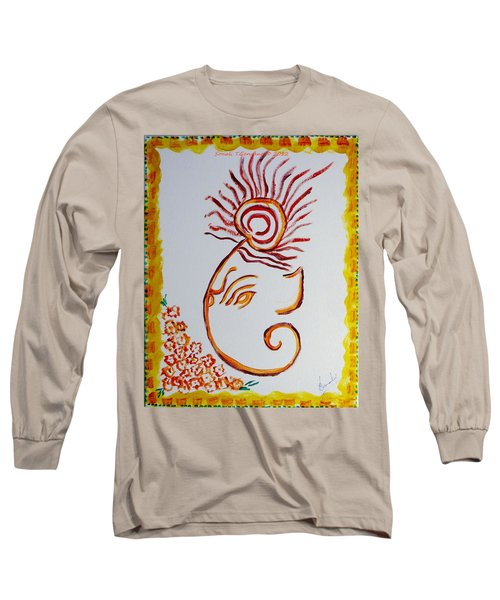 Long Sleeve T-Shirt featuring the painting Artistic Lord Ganesha by Sonali Gangane