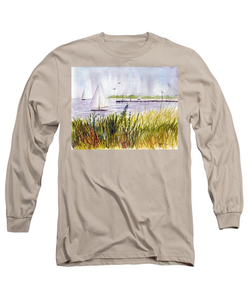 Long Sleeve T-Shirt featuring the painting Barnegat Sails by Clara Sue Beym