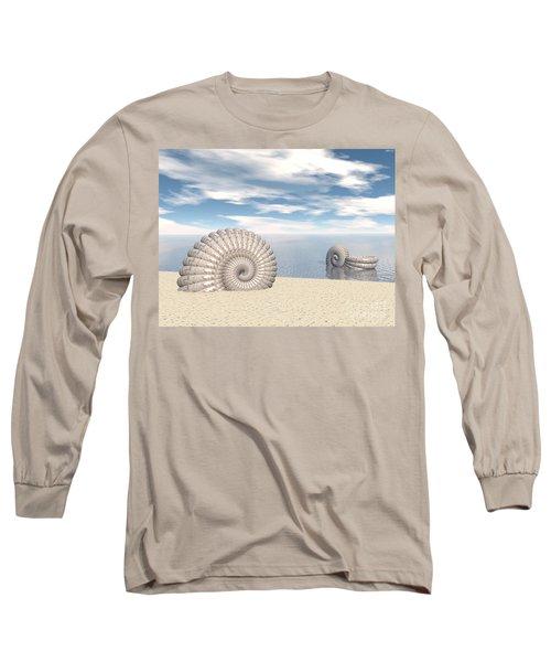 Long Sleeve T-Shirt featuring the digital art Beach Of Shells by Phil Perkins