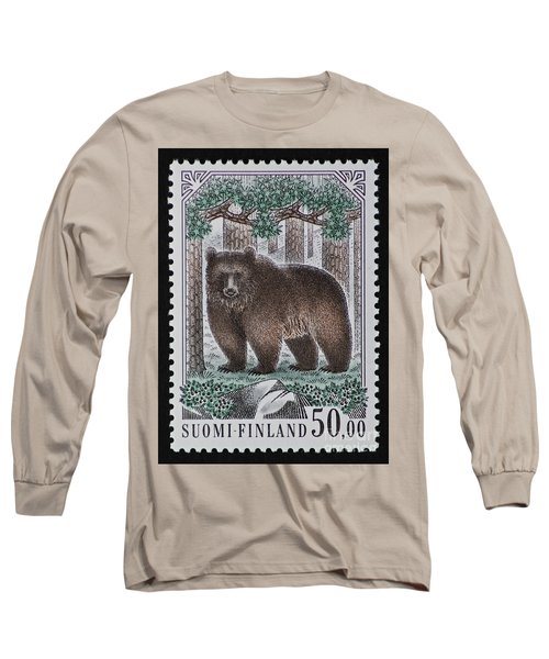 Bear Vintage Postage Stamp Print Long Sleeve T-Shirt
