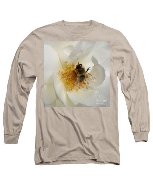 Long Sleeve T-Shirt featuring the photograph Bee In A White Rose by Lainie Wrightson
