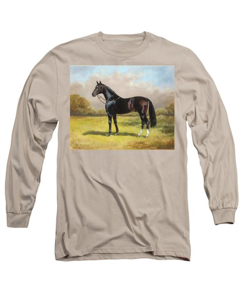 Black English Horse Long Sleeve T-Shirt