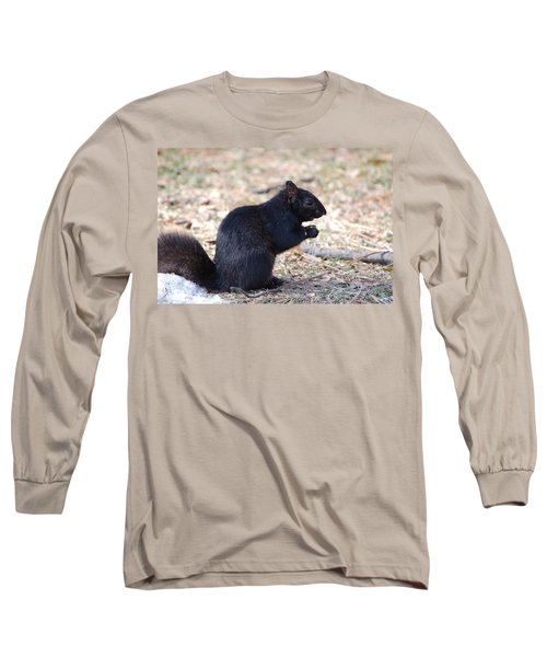 Long Sleeve T-Shirt featuring the photograph Black Squirrel Of Central Park by Sarah McKoy