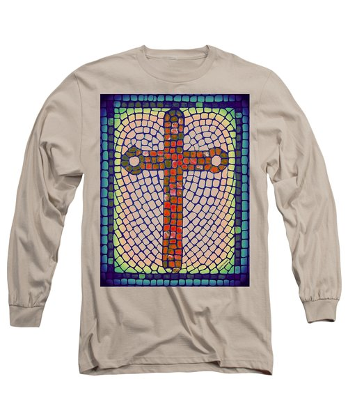Long Sleeve T-Shirt featuring the painting Blue Cross by Cynthia Amaral