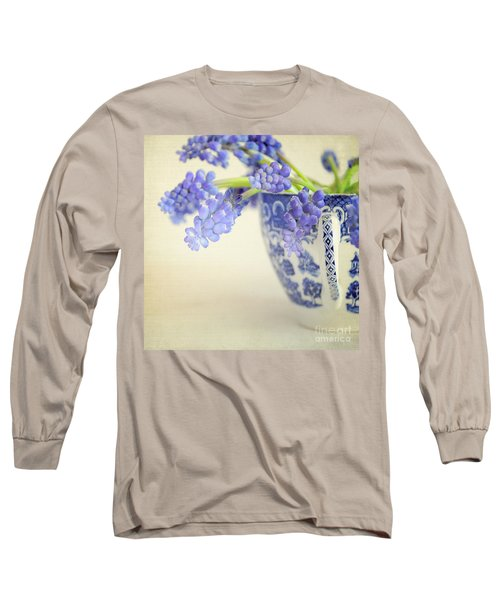 Blue Muscari Flowers In Blue And White China Cup Long Sleeve T-Shirt by Lyn Randle
