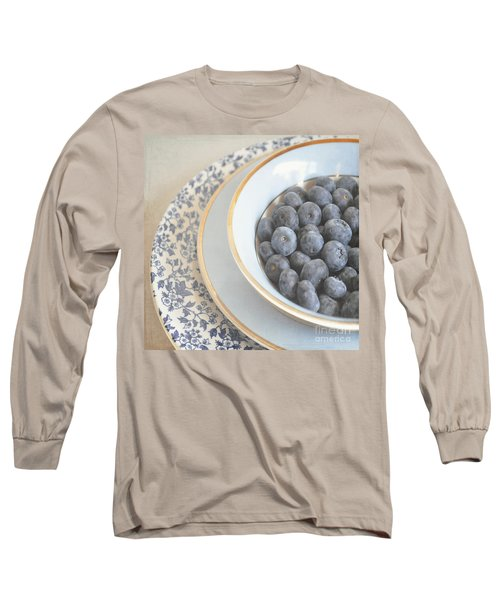 Blueberries In Blue And White China Bowl Long Sleeve T-Shirt
