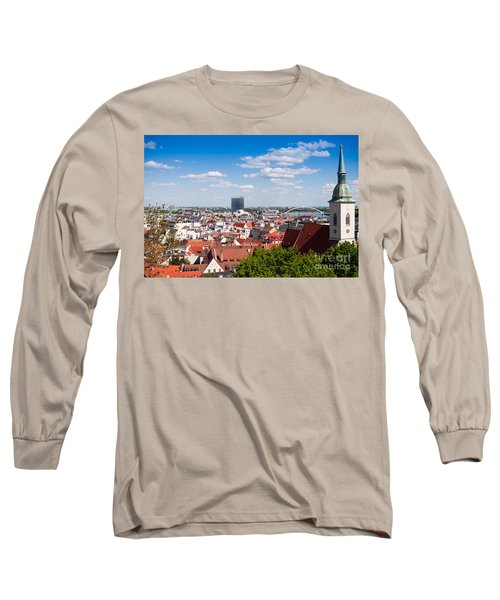 Long Sleeve T-Shirt featuring the photograph Bratislava Roofs by Les Palenik