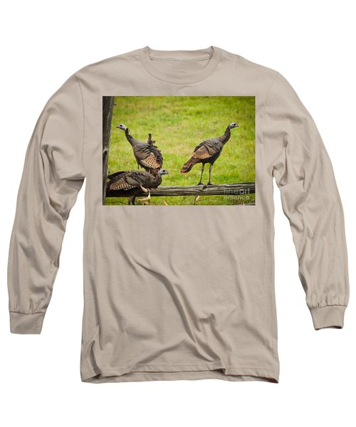 Long Sleeve T-Shirt featuring the photograph Bunch Of Turkeys by Cheryl Baxter