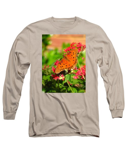 Butterfly On Pentas Long Sleeve T-Shirt by Carla Parris