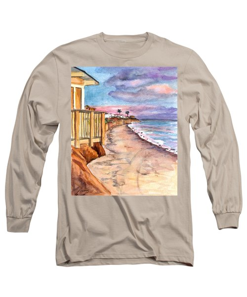 Long Sleeve T-Shirt featuring the painting California Coast by Clara Sue Beym