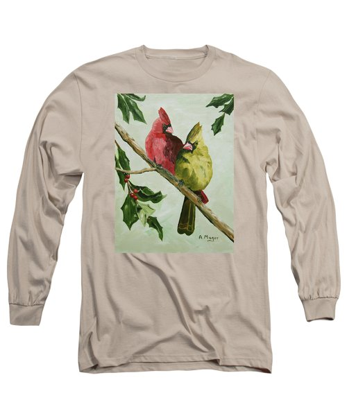 Cardinals With Holly Long Sleeve T-Shirt by Alan Mager