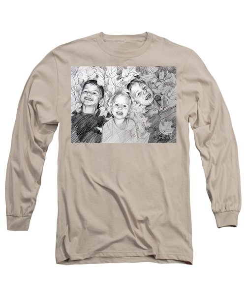 Children Playing In The Fallen Leaves Long Sleeve T-Shirt